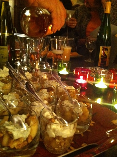 Appetizer in Brie CR: pears and walnuts with Roquefort, chevre-stuffed dried apricots, rosé champagne