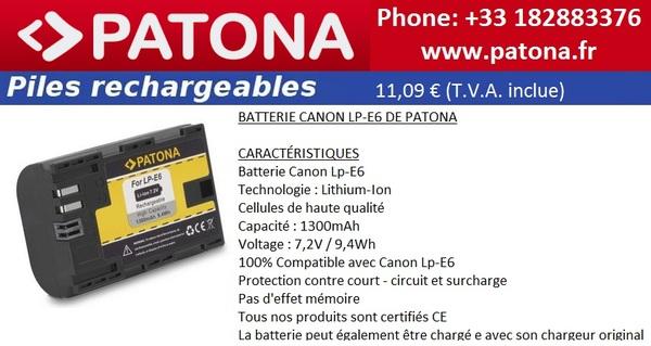 Le Meilleur Canon LP-E6 Batterie en France par Patona