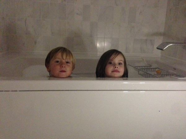 Fletcher and Scout in the bath