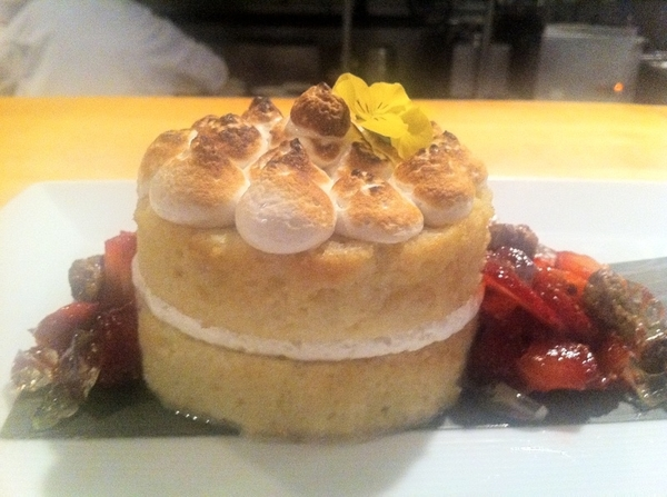 New Frontera Menu Highlight #6:tequila-infused tres leches cake,toasted meringue,local s'berries,tequila gelatinas