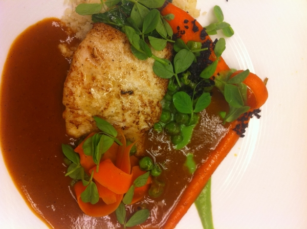 Poss new dish for Topolo: white fish, yellow mole, peas and carrots, crumbled tamal