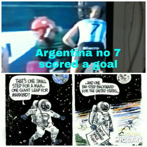 #Argentina no 7 scored a goal against usa #hockey #illustrated