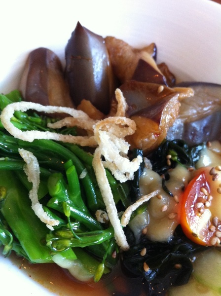 Takashi: eggplant salad w Chinese broccoli, wakame, miso, tangy broth