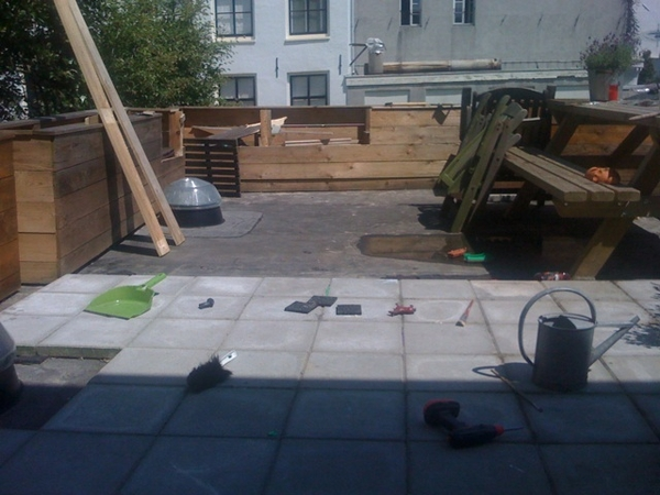 Working on our terrace project; results on Wednesday...