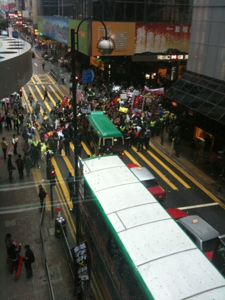 Protest blocking traffic in central