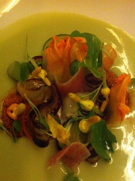 """Uchiko in Austin: forgot to post this gr8 pic of veg (incl squash blossoms) in herby """"sunchoke dashi"""""""