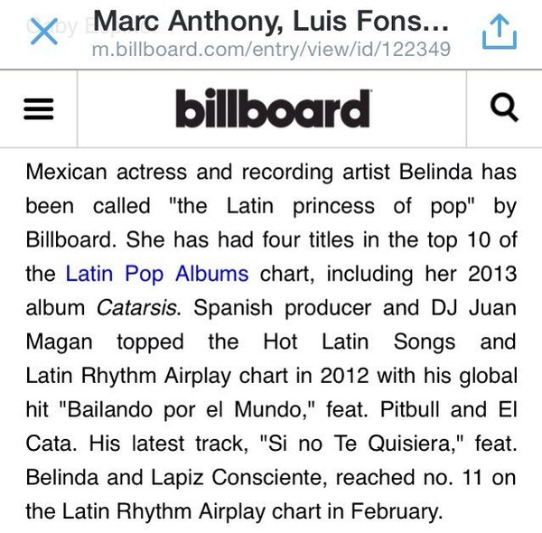 "Billboard llama a Belinda la ""Princesa del Pop Latino"". Latin Pop Princess."
