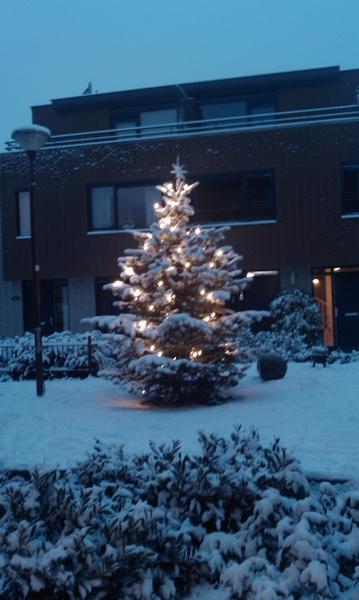 Sneeuw op de kerstboom Nieuwegein.gelukkig hoef ik niet naar dh vandaag. Wel 'the brand me' geven voor ac. Als er mensen zijn...