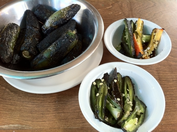 El Yaqui: charred jalapeños toreados--cut in strips, dressed w lime