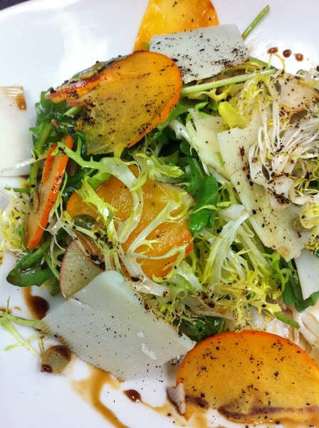 Chef Armando's new persimmon-apple salad w frisee, ancho, pepitas is really good. Red O in LA