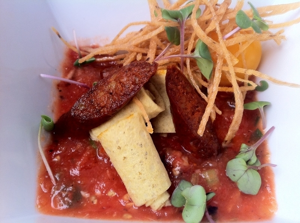 "Just started new ""Day in Merida"" tasting menu: smoked longaniza de Valladolid, egg, pepita crepa, chiltomate"