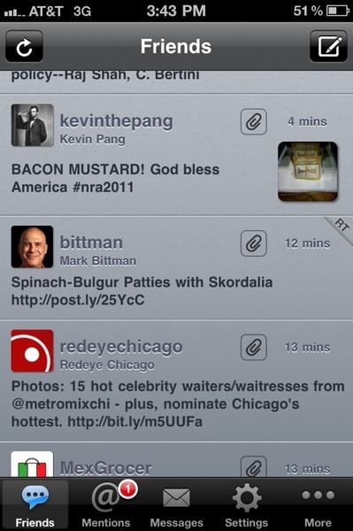 "Hilar twitter feed: Bacon-Mustard, Bittman's Spinach -Bulgar Patties, Chgo's Hottest ""Celeb"" Waiters.God Bless Am!"