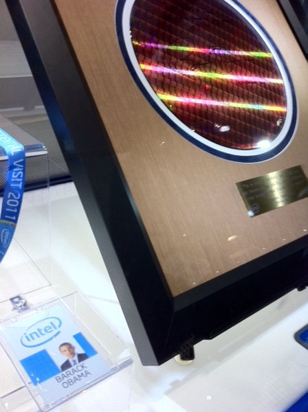 President Obama's Intel Blue Badge and Signed Wafer Inside the Intel Museum