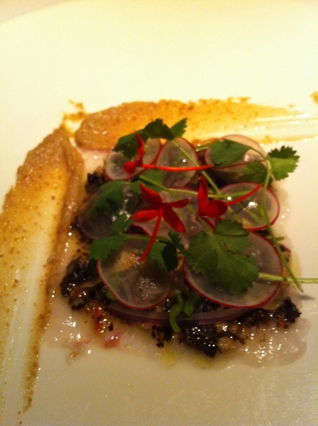 "Nectar (Merida) highlights: sashimi robalo, wild shroom vinaigrette, coral honeysuckle, cil, toasted bread ""puree"""