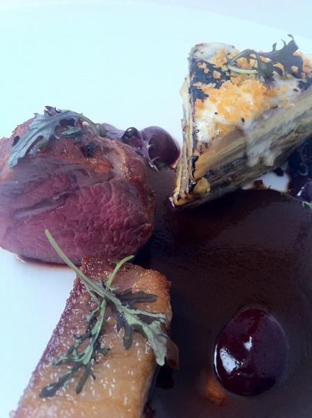 Baja Tasting Menu starts 2nite: lamb ribeye/belly w pasilla-bl olive-red wine sauce, frmrs mrk budín