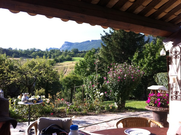 Enjoying breakfast in La Flogere before we're off to marseille