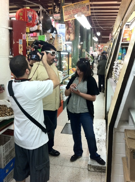 "San Juan Market, DF: my addy Jeff filming 2 staff wrkn on a ""virtual"" menu that celebrates uniqueness of ths mkt"