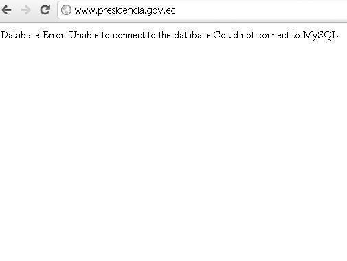 Captura sitio @presidencia_ec caído justo a la hora que #anonymous anunció #cpcondorlibre