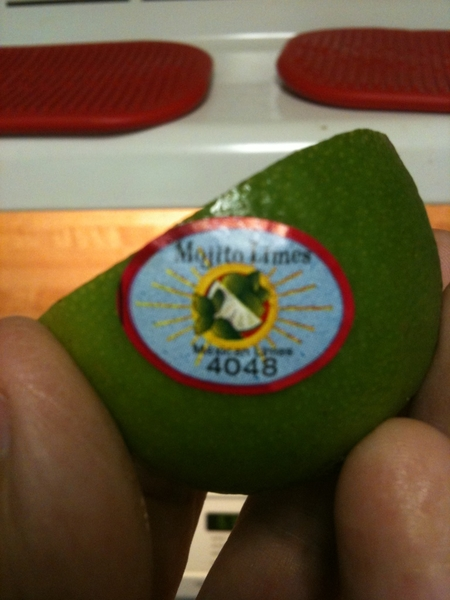 "My lime has a ""Mojito"" sticker on it, as if it knew it's fate:"