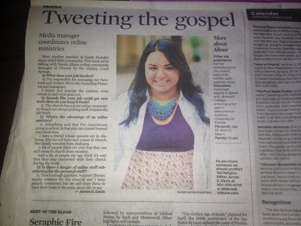 Hey! Who's this pretty girl in today's @sunsentinel? #GreatArticle (@yuhmeal)