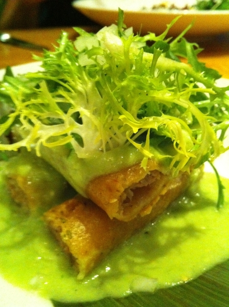 One of my fave aps on current Frontera menu: carnets flautas with avo-tomatillo salsa