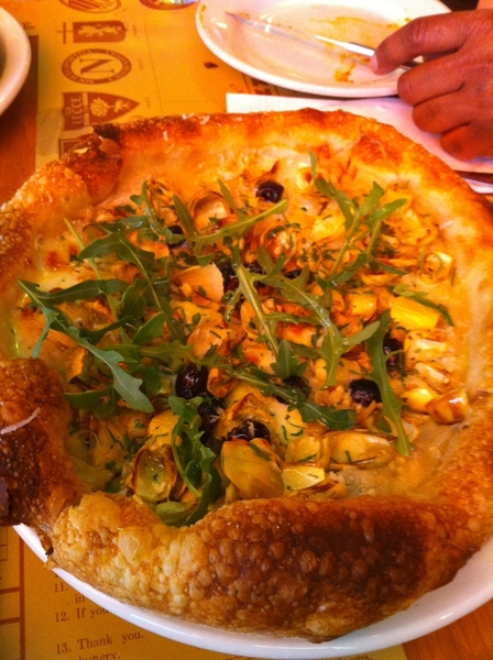Mozza's iconic pizza: artichoke, black olive, lemon, arugula