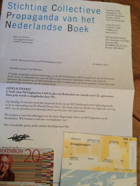Yeah! Prijswinnaar #CPNB wel jammer dat er 1 #NS dagkaart mist...