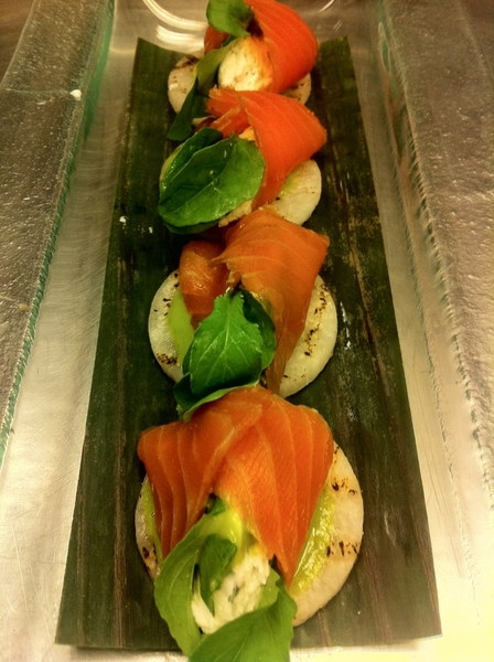 """New Frontera Menu 2day: standout home-smoked salmon, homemade ricotta, herby tomatillo drizzle, grld jícama """"chip"""""""