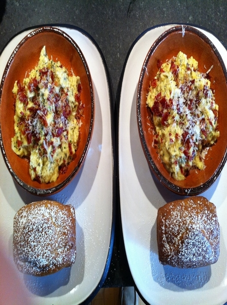 Big cooking day. Started w brunch: soft scrambld eggs w Stilton, 3 herbs, Grk yogurt; butternut quick bread