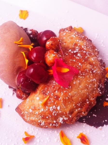 "New Frontera Menu hilites: cherry empanada, homade dk choc ""nutella,"" choc-rosita de cacao ice cr,sw-sour cherries"