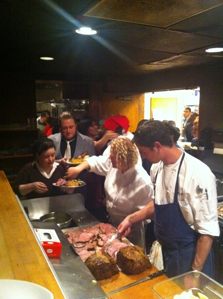15 dishes on the buffet line at our staff Christmas Party. Chef Brian & Som Jill serving at prime rib station