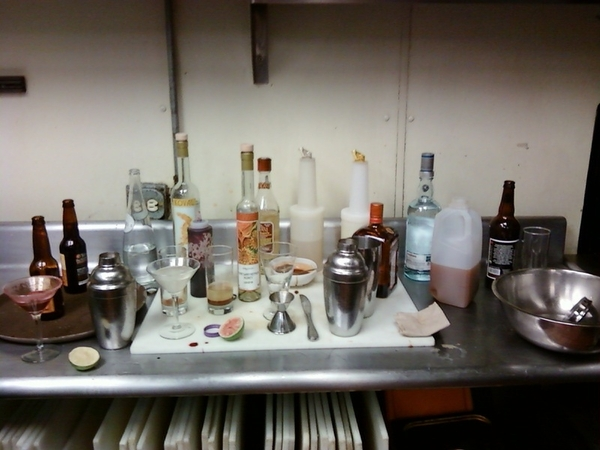 """Cocktail School"" in the back kitchen at Frontera.Working on new cocktails w Carlos A&Jen B.Gr8 hard cider mojito!"
