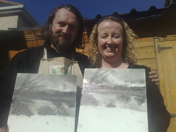 here's @niamhsmith and @seanodwyer with their drawings.