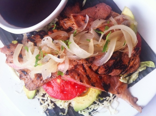 New Frontera Menu hilites: poc chuc: limey grill-seared pork, fresh garnished (heirlm Tom, avoc, grill-rstd onion