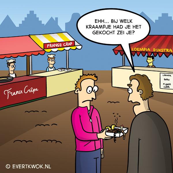 Bij welk kraampje zei je? #cartoon