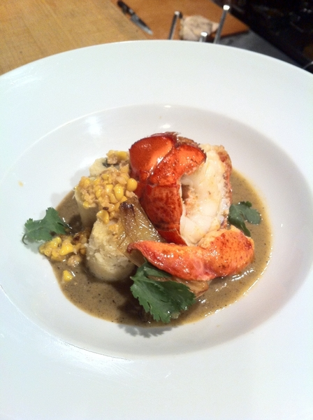 Scallops/lobster with rstd tomatillos-corn sauce, sweet corn tamales (w ricotta&nettles) for the President
