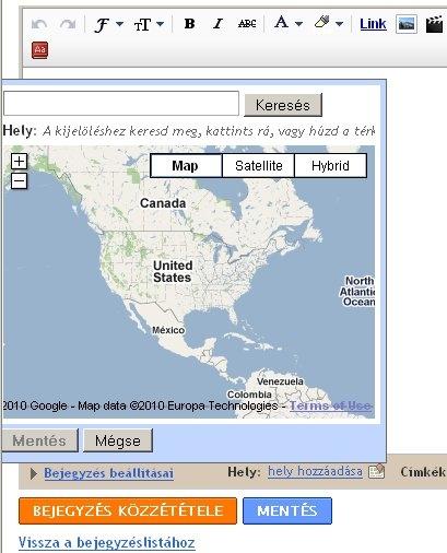 A Google Blogger bejegyzésekhez fel lehet vinni geotag infót kézzel.