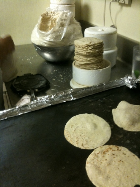 The night is really rocking in Frontera. We'll make about 2,000 handmade tortillas before the night is over.