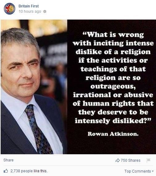 @stephenfry Is Rowan aware that Britain First is using his image to spread racial hatred?