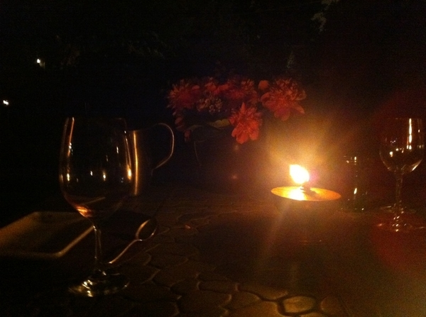 Sat for hours at table. Perfect summer night, eating grilled chix w braised garden greens, homemade bombolini