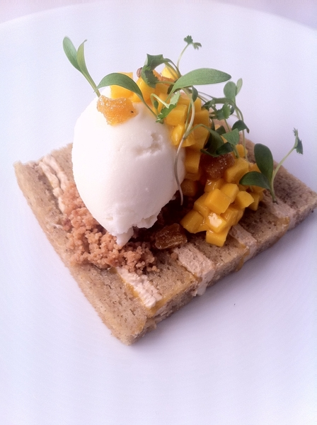 New Topolo tasting menu: 5th Crs: br butter layer cake, piloncillo buttercream, crema ice cream, micro cilantro