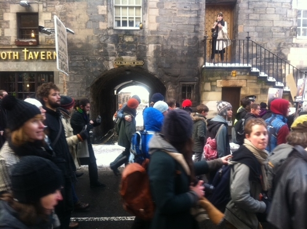 #demo2010 Protesters on Edinburgh's Royal Mile
