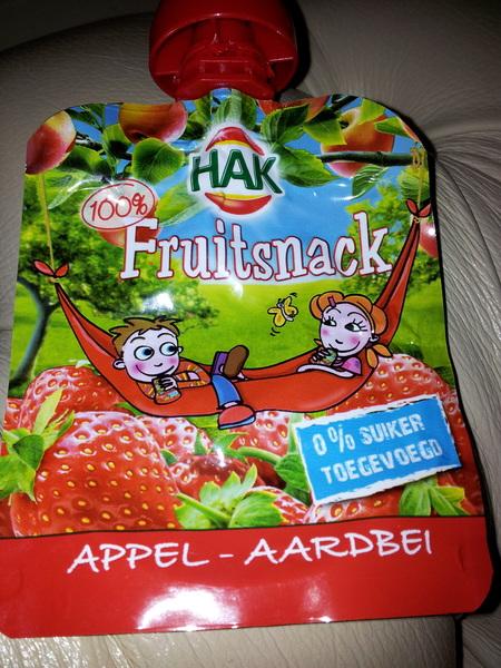 Lekker van Hak: Fruitsnack Appel-Aardbei, met... Appel en aardbei!