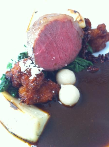 Topolo Adventurer's Tasting: lamb ribeye w pasilla negro sauce, candied sweetbreads, mustard greens, rstd turnips