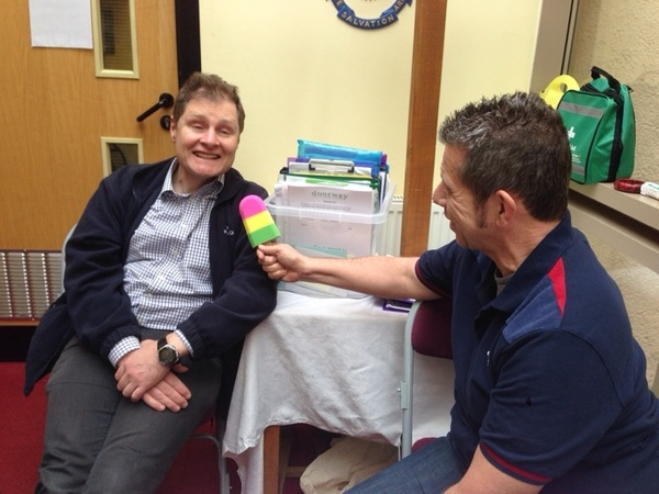 Delighted to welcome @bomberharris66 into today's drop in session. Interviewed by @calneeagle with a foam lollipop