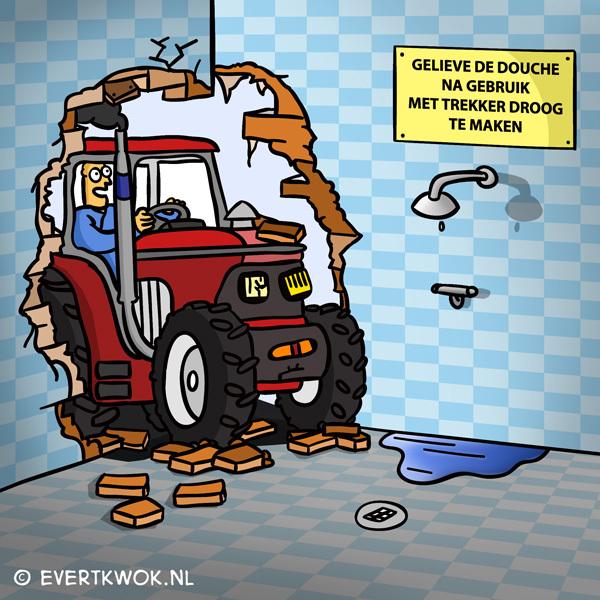 Gelieve de douche na gebruik met trekker droog te maken. #cartoon