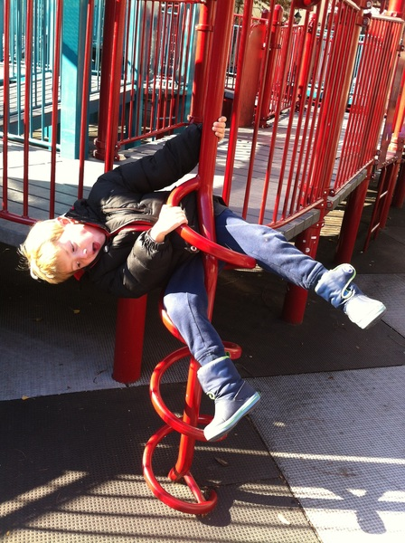Being silly at the playground
