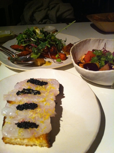 Wonderful meal at ABC Kitchen:Fluke sashimi w lemon/caviar,rstd beet salad w hmade yogurt,rstd carrot salad w avoc