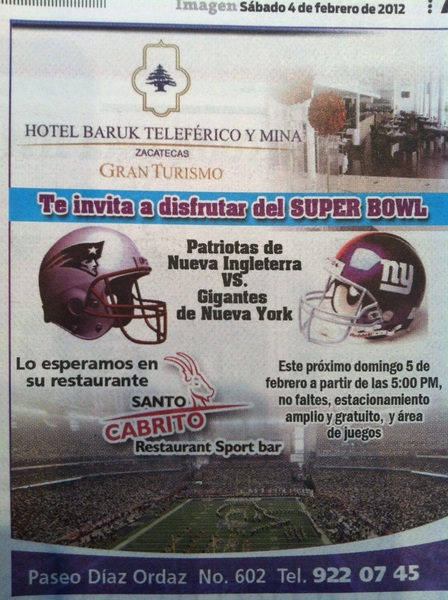 "RESTAURANTE SPORT BAR SANTO CABRITO ""Super BOWL """