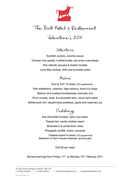 Celebrate Valentine's Day @TheBullHotel http://bit.ly/g0nuKB only 2 weeks time!